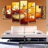 Golden Leaves Abstract Wall Canvas Art Sets Painting for Home Decoration 100% Hand Painted Oil Painting Modern Art Large Canvas Wall Art Free Shipping 5 Piece Canvas Art Unstretch and No Frame