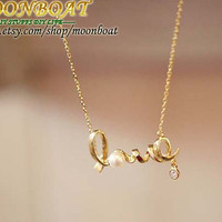 Women's Personality Golden Love Letter Pendant Necklace