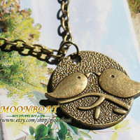 Men&#x27;s Women&#x27;s Antique Bronze Two Love birds Pendant Necklace