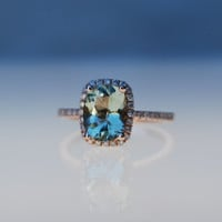 1.42ct Jasmine green Aquamarine halo diamond ring cushion cut 14k rose gold engagement ring