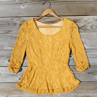 Lexi Lace Blouse in Mustard, Sweet Bohemian Clothing