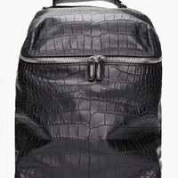 Alexander Wang Black Croc Embossed Leather Wallie Backpack for men | SSENSE
