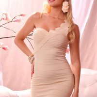 BEIGE ONE SHOULDER DETAILED TOP BANDAGE FITTED MINI DRESS @ Amiclubwear sexy dresses,sexy dress,prom dress,summer dress,spring dress,prom gowns,teens dresses,sexy party wear,women's cocktail dresses,ball dresses,sun dresses,trendy dresses,sweater dresses,