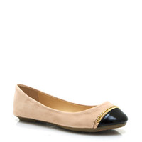 Capped-And-Chained-Ballet-Flats BLACK NUDE - GoJane.com