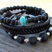 Bone, Leather and Nut - Tribal Bohemian Mixed Stack        in Black