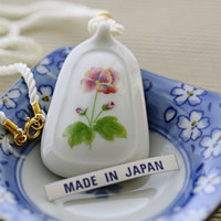 Vintage White Porcelain Floral Pendant With Silk Cord Necklace | Luulla