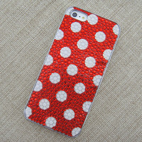 C985 Polka Dots Never Out Handmade Rhinestone Case for iPhone 5