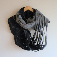 Cobweb felted wool Circle scarf  neclace / dark blue by AgnesFelt