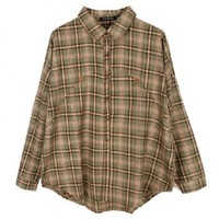 Retro Plaid Cotton Blouse with Batwing Sleeves