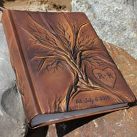 Wedding leather Photo album 13 x 9  with Tree of Life for 300 photos with custom engraved heart with initials