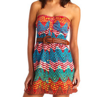 Charlotte Russe - Belted Cotton Zigzag Dress