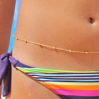 Satelite Body Chain - Gold Body Jewelry - Dainty  Belly Chain - Sleek Body Jewelry - Gorgeous Belly Chain