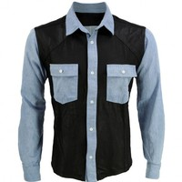 VIPARO | Black Leather and Blue Denim Long Sleeve Shirt - Austin