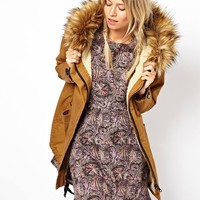ASOS Cocoon Parka With Oversized Faux Fur Trim Hood
