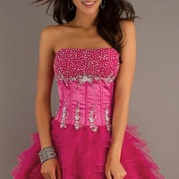 Short Strapless Pink Party Dress