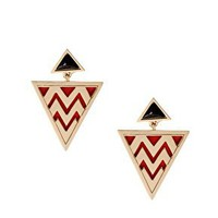 House of Harlow 1960 14ct Gold Plated Triangular Zig Zag Tribal Earrings