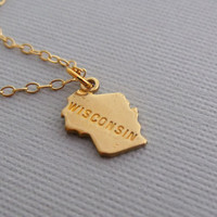 Wisconsin Charm Necklace State of Wisconsin by pinkingedgedesigns