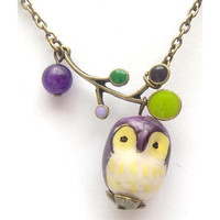 Antiqued Brass Leaf Purple Jade Porcelain Owl necklace by gemandmetal