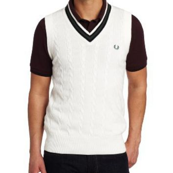 Fred Perry Men's Cable Knit V-Neck Vest