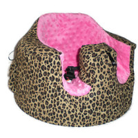 Bumbo Infant Seat Fitted Slip Cover in Hot Pink Minky and Cheetah Leopard Print with pocket and toy tag