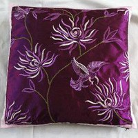 HUMMING BIRD cushion cover purple with white/ lilac by anitanirma