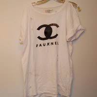 Distressed Fauxnel tshirt