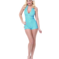 LOLITA GIRL Aqua & Red Polka Dot Coney Island Romper Swimsuit - Unique Vintage - Prom dresses, retro dresses, retro swimsuits.