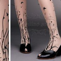 fabulous FOREST SYMPHONY tattoo thighhigh nylons LIGHT by post