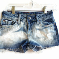 Upcycled American Eagle Shorts Bleached Denim Jean Shorts Hipster Tumblr