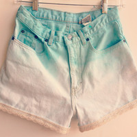 Ombre Lace High Waisted Denim Shorts Sea Foam Green Ombred Jean Shorts Boho Hipster