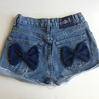 Denim Bow Shorts Low Waisted Jean Shorts Custom Made Hipster Tumblr