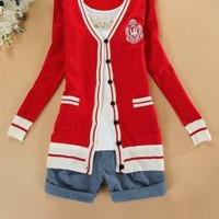 Ivy League Crested Knit Cardigan Sweater in Preppy Red | Sincerely Sweet Boutique