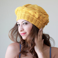 FREE Shipping Worldwide - Mustard Knit Hat for women, Adult beret, Winter beret, Fall trend, Yellow Hat