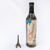 Paris Decoupage Bottle Rustic Love in Paris by BeauMiracle on Etsy