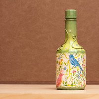 Decoupage Bottle Hand Painted in Vivid Green FALL by BeauMiracle