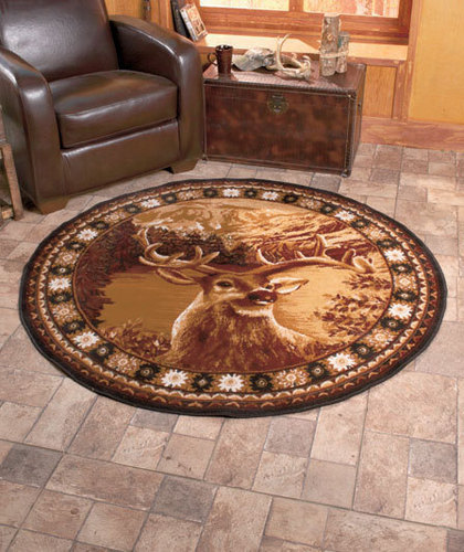 "5' X 2"" Round Wildlife Buck Deer Area Rug From Cornerstone"