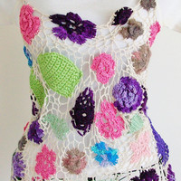 OOAK flower tank top, fiber art, lace crochet top size small/medium
