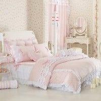 Pink Polka Dot Bedding Sets,Rustic Girls Duvet Cover Set ,Queen Size,4Pcs