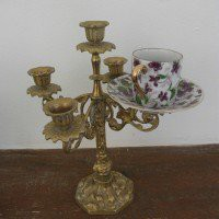 Espresso Teacup Candelabra, Purple & Brass ? Interior Accessories ? Recreate