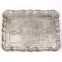 PLASTICLAND - Antiqued Silver Victorian Serving Tray