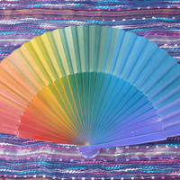 MADE to ORDER Large Darker RAINBOW Hippie Flamenco Folding Fan - Kd 18b