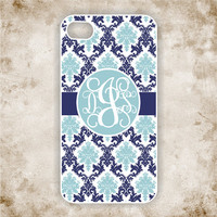 iPhone 4s Case, iPhone5 Case - Classy Blue Damask Monogram iPhone  - iPhone 4 Case, iPhone 4 Cover, Monogram iPhone Case (iM5112)