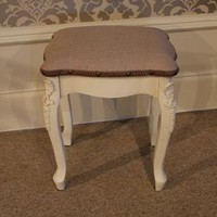 Cream french style dressing table stool - Melody Maison