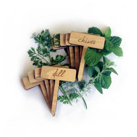 Herb Garden Plant Markers / Custom Wood Engraved Set of 4 Labels