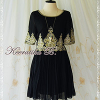 Marie Antoinette Inspired Dress Gold Embroidery Pattern Pale Black Dress Pleated Skirt 3/4 Sleeve Party Bridesmaid Tea Dress