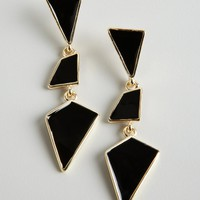 Kenneth Jay Lane black and gold geometric drop earrings | BLUEFLY up to 70 off designer brands