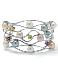 Genuine multi-colored cultured freshwater pearl vine cuff bracelet at Newport-News.com