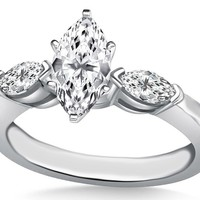 Engagement Ring - Three Stone Marquise Diamond Engagement Ring 0.30 tcw. In 14K White Gold - ES531MQ
