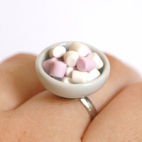 Marshmallow ring in a bowl kawaii miniature