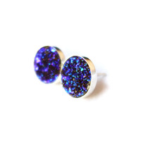 Big 10 mm Midnight Blue Drusy Studs in by RachelPfefferDesigns